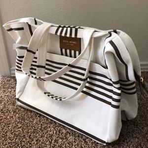Henri Bendel large white and brown canvas tote